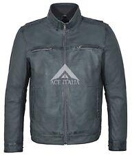Men's Grey Soft Retro Urban Biker Style Zipped Casual Bomber Leather Jacket 999