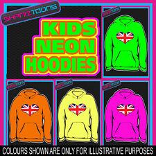 UNION JACK FLAG LOVE HEART NEON  ELECTRIC KIDS CHILDS HOODIE HOODY