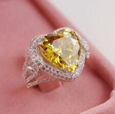 Fashion 925 Silver Filled Topaz Birthstone Engagement Wedding Ring Size 6-10