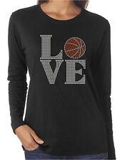 Love Basketball Rhinestone Women's Long Sleeve Shirts Sports Hoops