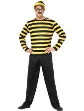 hommes Où est Wally odlaw Déguisement noir jaune robe costume + chapeau