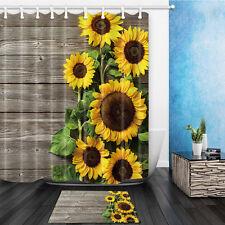 "Sunflower On Wooden Waterproof Fabric Home Decor Shower Curtain Bathroom Mat 71"""