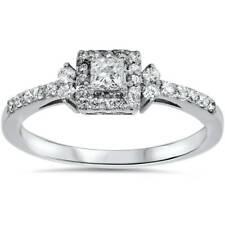 3/8ct Princess Cut Diamond Vintage Halo Engagement Promise Ring 10K White Gold