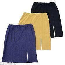 New Elastic Waist Knee Length Skirt Black Denim Gold  16,18,20,22,24,26 *LICK*