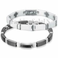 Men's Silver and Black Tungsten Carbide Ceramic Link Magnetic Healthy Bracelet