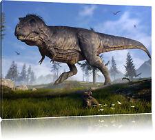 T-Rex Dinosaurier in der Natur Leinwandbild Wanddeko Kunstdruck