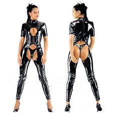 Sexy Black Wetlook Cupless Bodysuit Crotchless Fetish PVC Catsuit Jumpsuit S-XXL