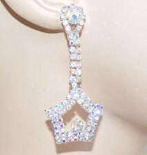 ORECCHINI strass argento boreale cristalli stelle pendenti regalo eleganti F245