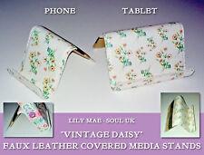 Vintage Daisy TABLET / PHONE DESK STAND Faux Leather SOUL Metal Core iPad REST