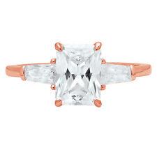 1.8ct Emerald Baguette Cut Engagement Bridal Solitaire 3Stone Ring 14K Rose Gold