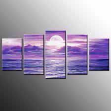 Modern Canvas Art Prints Oil Painting Purple Night Wall Art Canvas Picture-5pcs