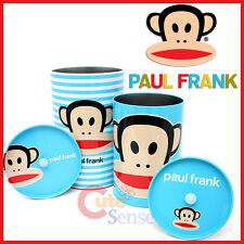 Paul Frank Julius Trash Can Set with Lids Top - Metal Tin Bins 4pc Blue Set