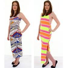 Ladies Sleeveless Neon Stripe Aztec Print Women's Long Maxi Summer Dress 8-14