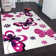 Kids Rug for Bedroom Playroom White Cream Pink Purple Butterfly Children Nursery