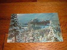 Unique Winter Scene Majestic Banff Springs Hotel Alberta Canada Vintage Postcard