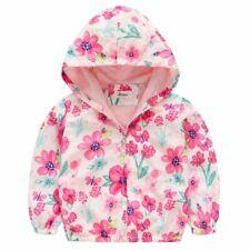 2-7Y Kids Baby Girl Floral Hoodie Coat Jacket Long Sleeve Windbreaker Clothing