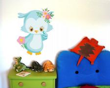 Wandtattoo Eule mit Blumen Pastell Baby Kinderzimmer Wandaufkleber 6 Größen