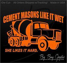 Cement Mason Decal Sticker Decal vinyl OLD SCHOOL lettering Wet Cement Truck