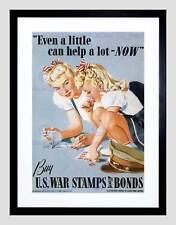 WAR PROPAGANDA WW2 STAMP BOND USA VINTAGE ADVERT RETRO FRAMED ART PRINT B12X2002