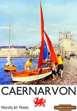 Caernarvon Wales RAILWAY ADVERTISING POSTER VINTAGE RETRO 1960's style ART Print