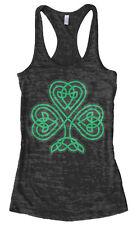 Celtic Shamrock Women's Burnout Racerback Tank Top St. Patrick's Day Irish Pride