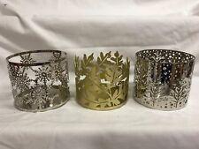 Bath & Body Works Metal 3 wick candle Sleeve, GOLD LEAF, SILVER TREE, SNOWFLAKE