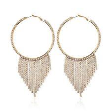 Ladies Charming CZ White Gold/Rose Gold Plated Very Large Tassel Hoop Earrings
