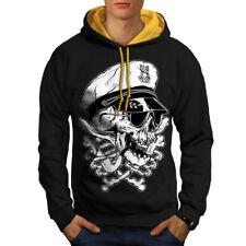Wellcoda Pirate Swag Head Skull Mens Contrast Hoodie, Skull Casual Jumper