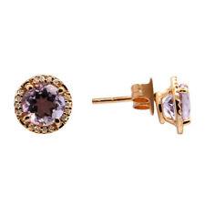 14K ROSE GOLD PAVE HALO DIAMOND PINK AMETHYST STUDS EARRINGS