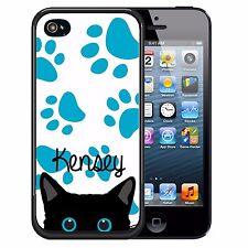 PERSONALIZED RUBBER CASE FOR iPHONE 7 6S 6 SE 5C 5 5S PLUS BLACK CAT B