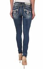 ROCK REVIVAL Women's Denim Adele Big Stitch Crystal Skinny Leg Jeans Pants