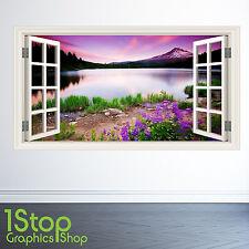 Montagnes Lac Sticker Mural Fenêtre Couleur Complète- Chambre Salon Nature W142