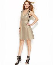 NWT-DKNYC ~Sizes 6~ Metallic Golden Faux-Leather Trim Party Dress $149 Retail