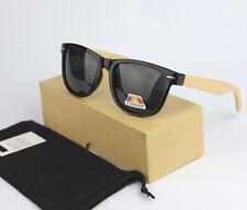 Vintage Retro Wood Bamboo Temple Black Sunglasses Polarized UV400 BOX+Soft Case