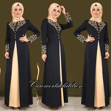 Women Arab Print Abaya Dress Vintage Long Sleeve Robe Islamic Muslim Jilbab Robe