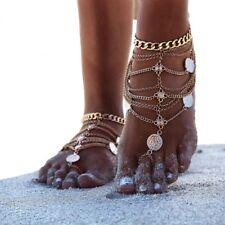 Arabische Fußkette Fußkettchen Fußschmuck Münzen Knöchel Orient Orientalisch F8