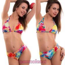 Bikini femme maillot de bain triangle motif à fleurs brésilien deux pièces
