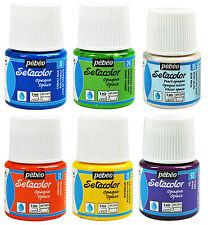 Pebeo Setacolor Tessuto Tessile VERNICE 45ml POT-Tutti i Colori Opachi Disponibili