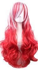Perruque longue rouge et blanche bouclée 70cm, cosplay