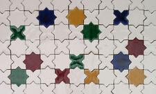 Bunte spanische Fliesen Sterne + Kreuze einfarbig, Mosaikfliesen wie aus Marroko