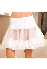 Womens adult white satin time costume petticoat