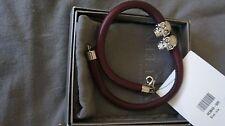 Alexander McQueen Double lSkull-Embellished Burgundy Leather Wrap Bracelet