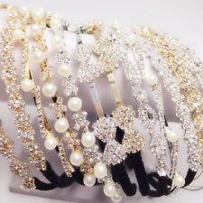 1 Women Lady Girls Crystal Shine Bling beads princess party hair head band Hoop