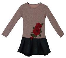 Gr. 92-146 Mädchen Kleid Langarmkleid Herbst- Winterkleid Rock in Lederoptik