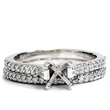1/2ct Diamond Matching Engagement Bridal Ring Set Setting Solid 14K White Gold