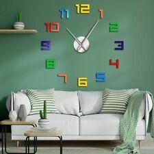 Colorful Big Numbers Diy Giant Wall Clock Frameless Modern Clocks Home Decor