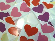 Mini Sticker Pack , 50x37mm Heart Shape Coloured Durable Plastic Seal Labels