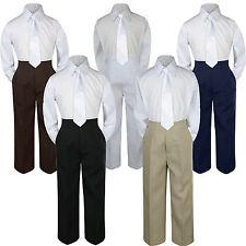 3pc White Tie  Suit Shirt Pants Set Baby Boy Toddler Kid Uniform S-7