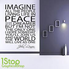 JOHN LENNON IMAGINE WALL STICKER QUOTE - FAMILY LOVE BEDROOM WALL ART DECAL X102