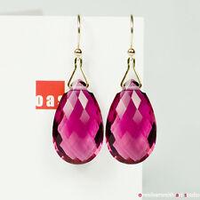 Pure 18k 14k Gold Jumbo Neon Tourmaline-Pink Quartz Earrings Hook Leverback TW32